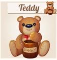 teddy bear and barrel honey cartoon vector image vector image