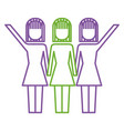 three women holding hands teamwork successful vector image vector image