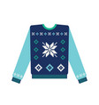 ugly christmas sweater with snowflake vector image