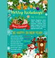 winter holiday santa gifts greeting card vector image