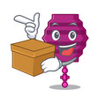 with box paper lantern character cartoon vector image