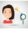 women and papers isolated icon design vector image vector image