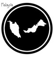 white map of malaysia on black vector image
