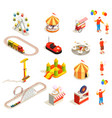 amusement park isometric icons vector image vector image