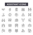 assistant line icons signs set outline vector image vector image