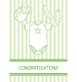 Baby arrival card with clothes vector image vector image