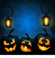 Background to the Halloween with pumpkins vector image