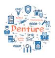 blue round denture concept vector image vector image