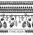 Borders with feathers and stripe Black and white vector image vector image