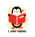 cartoon penguin reading book vector image