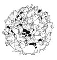 circle shape coloring page with funny farm vector image