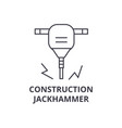 construction jackhammer line icon sign vector image