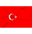 Cracked national flag of the Turkey vector image