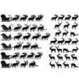 deer sled silhouette vector image vector image
