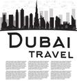 Dubai City skyline black and white silhouette vector image vector image
