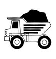 dump truck with rocks on monochrome dotted vector image