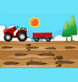 farm scene with tractor in the field vector image vector image