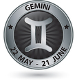 Gemini zodiac silver sign gemini symbol vector image vector image