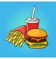 hand drawn pop art of hamburger french fries and vector image vector image