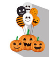 happy halloween card with pumpkins and balloons vector image