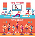 home class fitness banners set vector image vector image