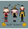Kids in halloween costume vector image vector image