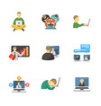 laptop and people icons vector image