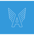 Letter A logo with wings in thin lines vector image vector image