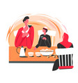 muslim characters drinking tea or coffee table vector image vector image