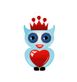Owl with crown and heart vector image vector image