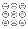 set black labels and stickers vector image