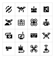 Set icons of quadrocopter multicopter drone vector image