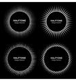 Set of Black Abstract Halftone Circle Frame Logo vector image