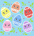 set of colored isolated cute easter eggs on a vector image