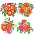 set of hand-painted bouquets of flowers vector image vector image