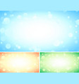 set of three abstract blue backgrounds with bokeh vector image vector image