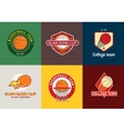 Set of vintage color basketball championship logos