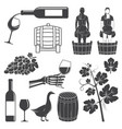 set of wine silhouette icons vector image