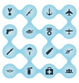 set simple military icons vector image