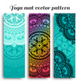 set yoga mats with ethnic designs turquoise vector image vector image
