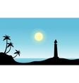 Silhouette of lighthouse on beach vector image vector image