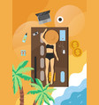 summer beach vacation card flat vector image
