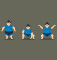 sumo wrestler in different poses vector image vector image