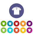 t-shirt icons set color vector image