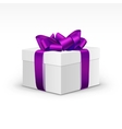 White Gift Box with Purple Violet Ribbon Isolated vector image