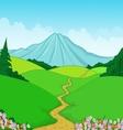 Beautiful green landscape cartoon background vector image