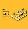 24-hour delivery service isometric website vector image vector image