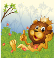 A lion with a crown at the forest vector image vector image