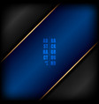 abstract diagonal blue stripe with golden line on vector image vector image