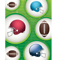 American Football Helmets and Balls vector image vector image